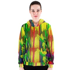 Abstract Vibrant Colour Botany Women s Zipper Hoodie