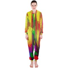 Abstract Vibrant Colour Botany Hooded Jumpsuit (ladies)
