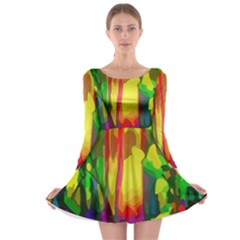 Abstract Vibrant Colour Botany Long Sleeve Skater Dress