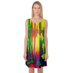 Abstract Vibrant Colour Botany Sleeveless Satin Nightdress