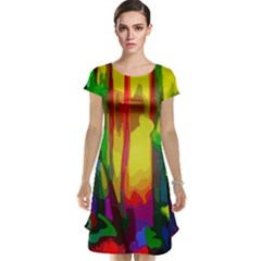 Abstract Vibrant Colour Botany Cap Sleeve Nightdress