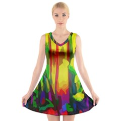 Abstract Vibrant Colour Botany V Neck Sleeveless Skater Dress