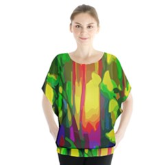 Abstract Vibrant Colour Botany Blouse