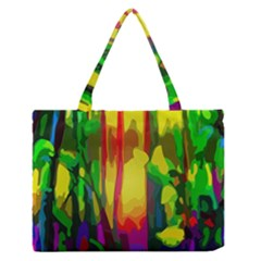 Abstract Vibrant Colour Botany Medium Zipper Tote Bag