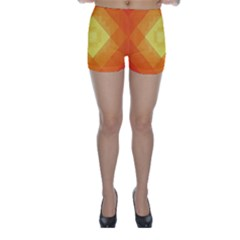 Pattern Retired Background Orange Skinny Shorts