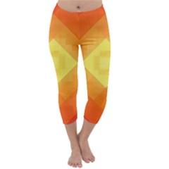 Pattern Retired Background Orange Capri Winter Leggings
