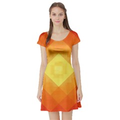 Pattern Retired Background Orange Short Sleeve Skater Dress
