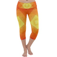Pattern Retired Background Orange Capri Yoga Leggings