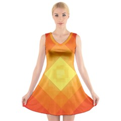 Pattern Retired Background Orange V-Neck Sleeveless Skater Dress