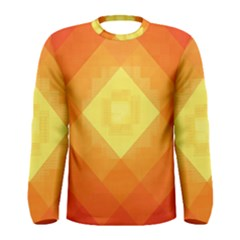 Pattern Retired Background Orange Men s Long Sleeve Tee