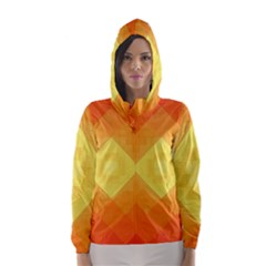 Pattern Retired Background Orange Hooded Wind Breaker (women)
