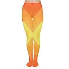 Pattern Retired Background Orange Women s Tights
