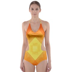 Pattern Retired Background Orange Cut-Out One Piece Swimsuit
