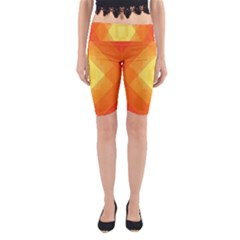 Pattern Retired Background Orange Yoga Cropped Leggings