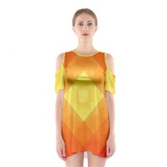 Pattern Retired Background Orange Shoulder Cutout One Piece
