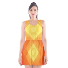 Pattern Retired Background Orange Scoop Neck Skater Dress