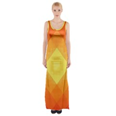 Pattern Retired Background Orange Maxi Thigh Split Dress