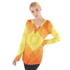 Pattern Retired Background Orange Women s Tie Up Tee