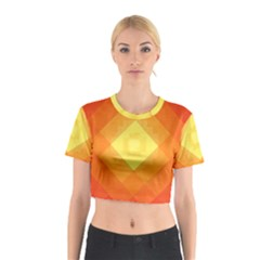Pattern Retired Background Orange Cotton Crop Top