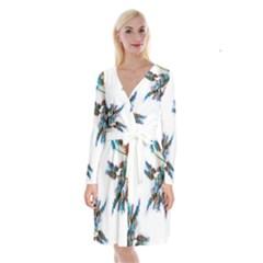 Long Sleeve Velvet Front Wrap Dress