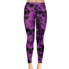 Cloudy Skulls Black Purple Leggings