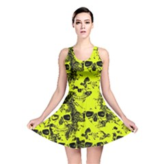 Cloudy Skulls Black Yellow Reversible Skater Dress