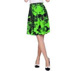 Cloudy Skulls Black Green A-Line Skirt