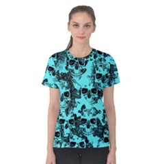 Cloudy Skulls Aqua Women s Cotton Tee