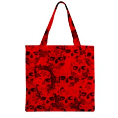 Cloudy Skulls Red Grocery Tote Bag
