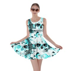 Cloudy Skulls White Aqua Skater Dress