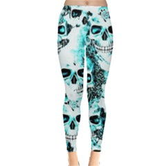 Cloudy Skulls White Aqua Leggings