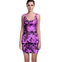 Cloudy Skulls Pink Sleeveless Bodycon Dress