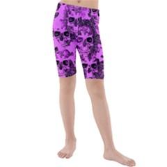 Cloudy Skulls Pink Kids  Mid Length Swim Shorts