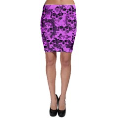Cloudy Skulls Pink Bodycon Skirt