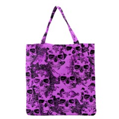 Cloudy Skulls Pink Grocery Tote Bag