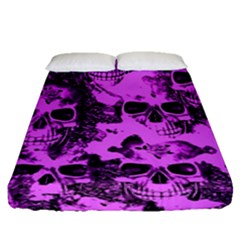 Cloudy Skulls Pink Fitted Sheet (Queen Size)