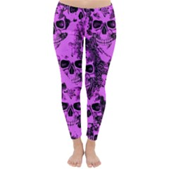 Cloudy Skulls Pink Classic Winter Leggings