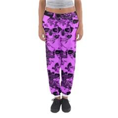 Cloudy Skulls Pink Women s Jogger Sweatpants