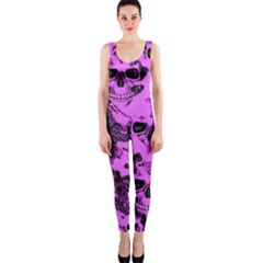 Cloudy Skulls Pink OnePiece Catsuit