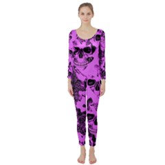 Cloudy Skulls Pink Long Sleeve Catsuit