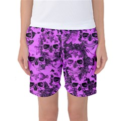 Cloudy Skulls Pink Women s Basketball Shorts