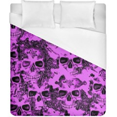 Cloudy Skulls Pink Duvet Cover (California King Size)