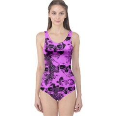 Cloudy Skulls Pink One Piece Swimsuit