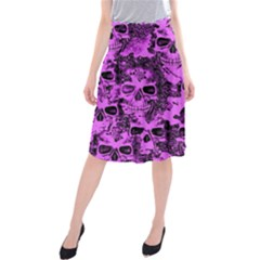 Cloudy Skulls Pink Midi Beach Skirt