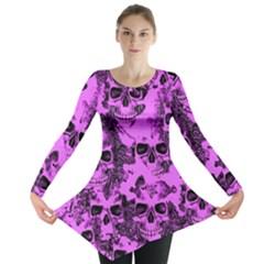 Cloudy Skulls Pink Long Sleeve Tunic