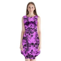 Cloudy Skulls Pink Sleeveless Chiffon Dress