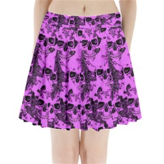 Cloudy Skulls Pink Pleated Mini Skirt