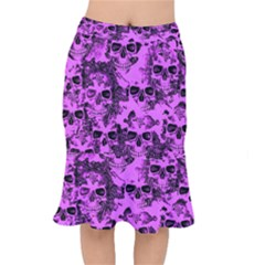 Cloudy Skulls Pink Mermaid Skirt