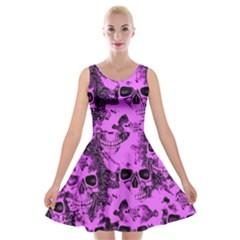 Cloudy Skulls Pink Velvet Skater Dress