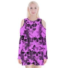 Cloudy Skulls Pink Velvet Long Sleeve Shoulder Cutout Dress